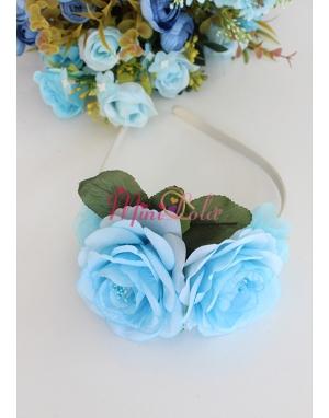 Mavi renk güllü yaprak detaylı şık taç