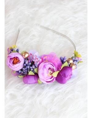 Mor lila renk çiçekli gold detaylı zarif taç