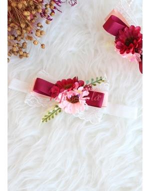 Kırmızı somon renk çiçekli dantel detaylı zarif saç bandı