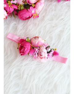 Pembe karma çiçekli gümüş detaylı zarif saç bandı