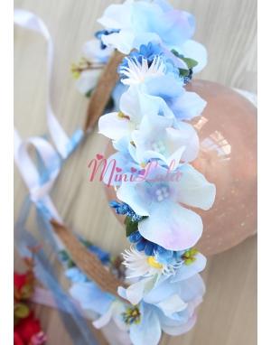 Lacivert mini çiçekli ortanca papatyalı tamtur taç