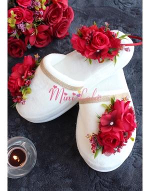 Kırmızı bordo renk çiçekli hasır detaylı lohusa seti
