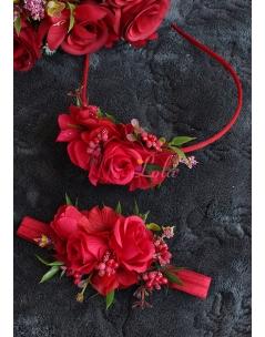 Kırmızı bordo renk çiçekli hasır detaylı anne kız taç takımı