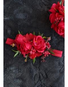 Kırmızı bordo renk çiçekli saç bandı