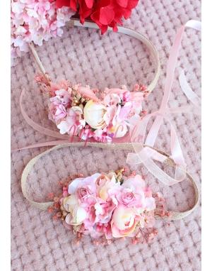 Pudra pembe somon renk karma çiçekli zarif taç takımı