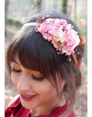 Pudra pembe somon renk karma çiçekli zarif taç