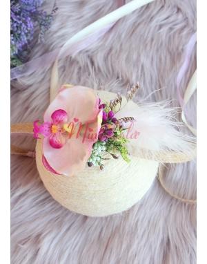 Toz pembe mor karma renkli orkide çiçekli bağlamalı taç