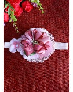 Gülkurusu pembe renk dantel çiçek süslü saç bandı