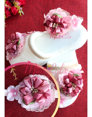 Gülkurusu pembe renk dantel çiçek süslü lohusa seti