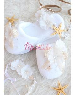 Ekru beyaz renk çiçekli inci taş detaylı yıldızlı zarif lohusa seti