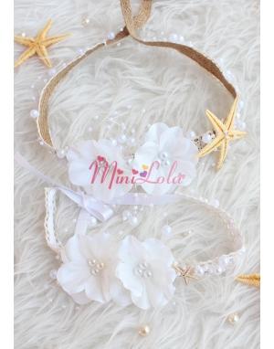 Ekru beyaz renk çiçekli inci taş detaylı yıldızlı zarif saç bandı seti