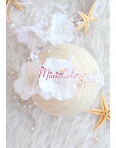 Ekru beyaz renk çiçekli inci taş detaylı yıldızlı zarif saç bandı
