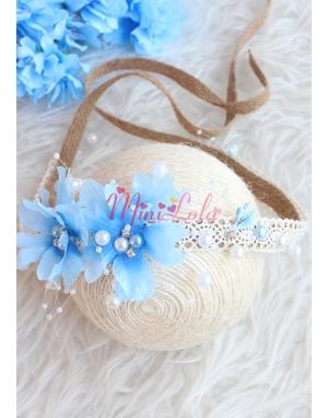 Mavi inci çiçekli kahverengi dantelli taşlı zarif bağlamalı taç