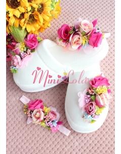 Pembe çiçekli renkli tomurcuk detaylı zarif lohusa seti