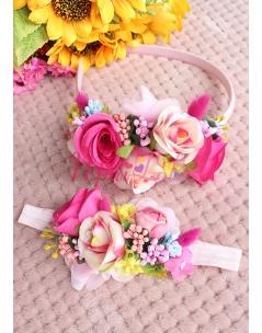 Pembe çiçekli renkli tomurcuk detaylı zarif taç saç bandı seti