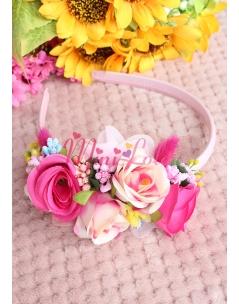 Pembe çiçekli renkli tomurcuk detaylı zarif taç