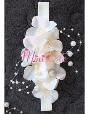 Pudra ortanca çiçekli inci gümüş taşlı zarif saç bandı
