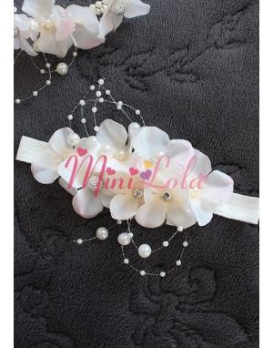 Pudra ortanca çiçekli inci gümüş taşlı zarif lohusa seti