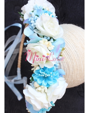 Krem renkli mavi karma çiçekli tamtur taç