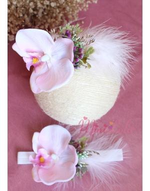 Toz pembe mor karma renkli orkide çiçekli taç takımı