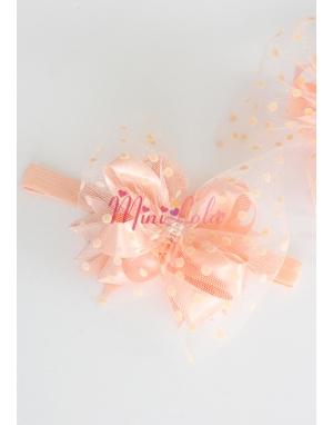 Somon renk fiyonk süslemeli puantiye tüllü incili saç bandı