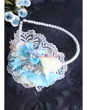 Mavi krem çiçekli dantelli inci prenses taşlı taç