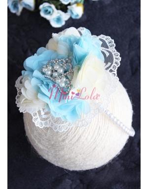 Mavi krem çiçekli dantelli inci prenses taşlı lohusa seti