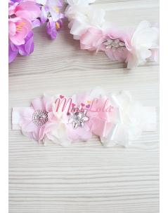 Pembe ekru renk çiçekli zarif gümüş taş süslemeli saç bandı