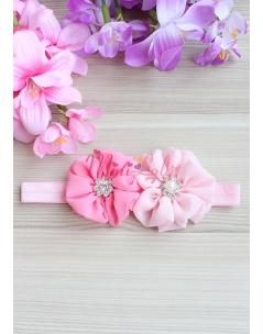Pembe pudra renk çiçekli taş süslemeli saç bandı