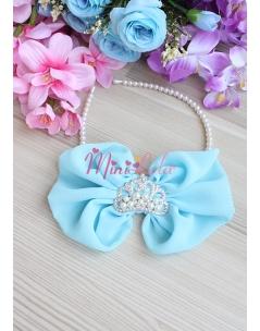 Açık mavi inci prenses taş fiyonklu zarif taç