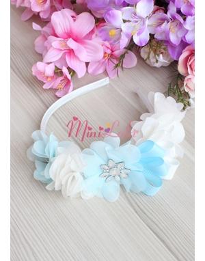 Mavi ekru renk çiçekli zarif gümüş taş süslemeli lohusa seti