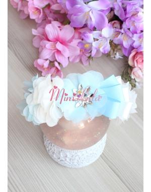 Mavi ekru renk çiçekli zarif gümüş taş süslemeli taç