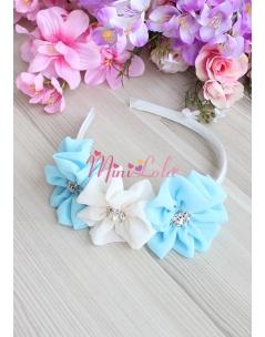 Mavi krem renk çiçekli taş süslemeli taç