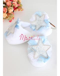 Mavi beyaz renkli dantelli yıldız süslemeli lohusa seti