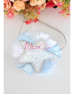 Mavi beyaz renkli dantelli yıldız süslemeli taç