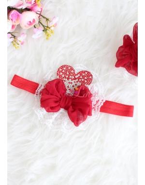 Krem dantelli kırmızı renk kalp taşlı fiyonklu saç bandı