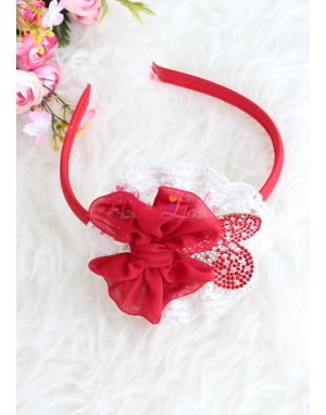 Krem dantelli kırmızı renk kalp taşlı fiyonklu anne kız takımı