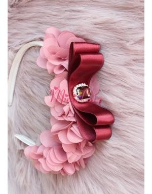 Gülkurusu koyu ton şifon çiçekli taş detaylı şık taç