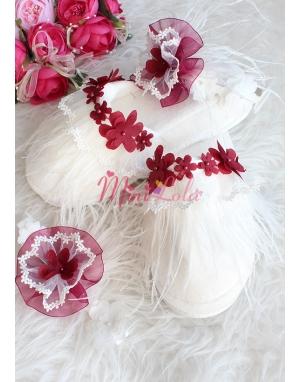 Bordo renk çiçek detaylı zarif tüy dantelli lohusa seti