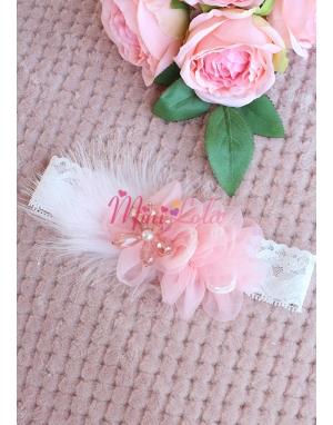 Pudra pembe renk zarif çiçekli taş detaylı saç bandı