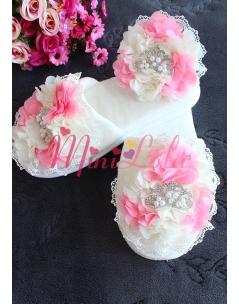 Şeker pembe krem çiçekli dantelli inci prenses taşlı lohusa seti