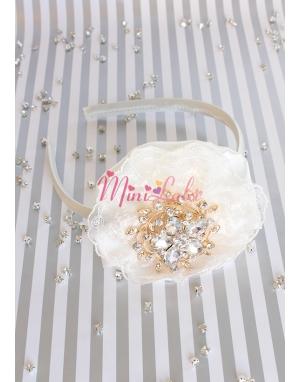 krem saten üzeri dantelli gold çiçek taşlı zarif vintage taç