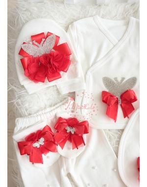 Kırmızı krem kelebek taş desenli dantelli hastane çıkış seti