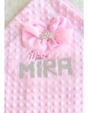 Pembe inci prenses taş fiyonklu taşlı isim süslü battaniye