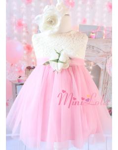 Pembe renk tül etekli krem çiçek süslemeli zarif elbise seti