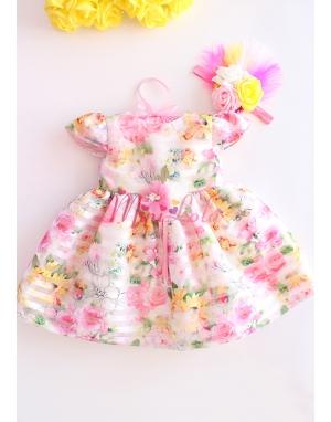Renkli bahar çiçek desen işlemeli tüylü gül saç bantlı elbise seti