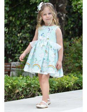 Su yeşili renk üzeri şirin desen işlemeli elbise seti