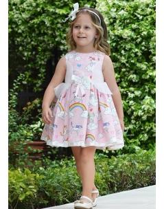 Pudra pembe renk üzeri şirin desen işlemeli elbise seti