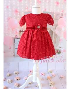 Kırmızı renk dantelli şakayık güllü zarif elbise