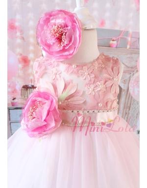 Pembe renk üzeri inci çiçek detaylı şakayıklı elbise seti